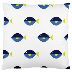 Blue Fish Swim Yellow Sea Beach Standard Flano Cushion Case (one Side) by Alisyart
