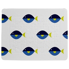 Blue Fish Swim Yellow Sea Beach Jigsaw Puzzle Photo Stand (rectangular) by Alisyart