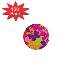 Butterfly Animals Rainbow Color Purple Pink Green Yellow 1  Mini Buttons (100 Pack)  by Alisyart
