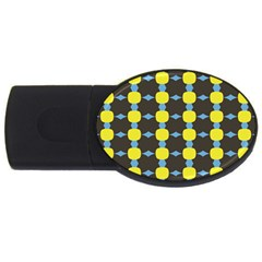 Blue Black Yellow Plaid Star Wave Chevron Usb Flash Drive Oval (4 Gb) by Alisyart