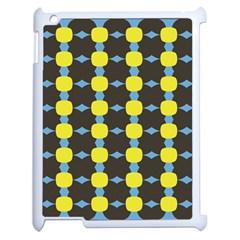 Blue Black Yellow Plaid Star Wave Chevron Apple Ipad 2 Case (white) by Alisyart