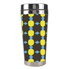 Blue Black Yellow Plaid Star Wave Chevron Stainless Steel Travel Tumblers by Alisyart