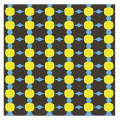 Blue Black Yellow Plaid Star Wave Chevron Large Satin Scarf (square) by Alisyart
