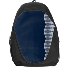 Argyle Triangle Plaid Blue Grey Backpack Bag by Alisyart