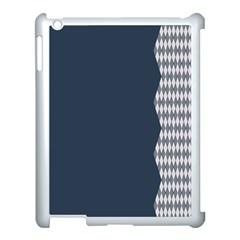 Argyle Triangle Plaid Blue Grey Apple Ipad 3/4 Case (white) by Alisyart