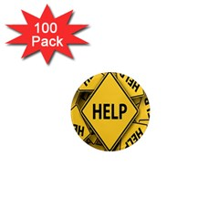 Caution Road Sign Help Cross Yellow 1  Mini Magnets (100 Pack)  by Alisyart