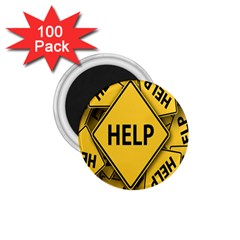 Caution Road Sign Help Cross Yellow 1 75  Magnets (100 Pack)  by Alisyart