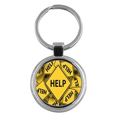 Caution Road Sign Help Cross Yellow Key Chains (round)  by Alisyart
