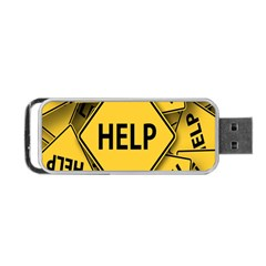 Caution Road Sign Help Cross Yellow Portable Usb Flash (two Sides) by Alisyart