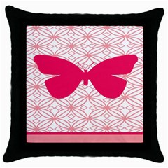 Butterfly Animals Pink Plaid Triangle Circle Flower Throw Pillow Case (black) by Alisyart