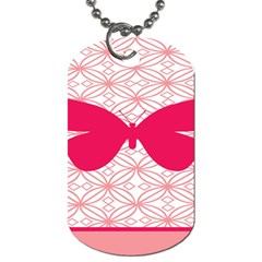 Butterfly Animals Pink Plaid Triangle Circle Flower Dog Tag (two Sides) by Alisyart