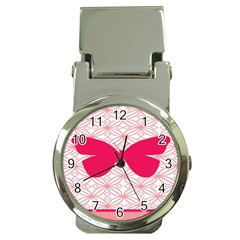 Butterfly Animals Pink Plaid Triangle Circle Flower Money Clip Watches by Alisyart