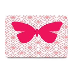 Butterfly Animals Pink Plaid Triangle Circle Flower Plate Mats by Alisyart