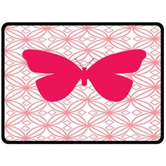 Butterfly Animals Pink Plaid Triangle Circle Flower Fleece Blanket (large)  by Alisyart