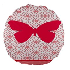 Butterfly Animals Pink Plaid Triangle Circle Flower Large 18  Premium Round Cushions by Alisyart