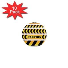 Caution Road Sign Warning Cross Danger Yellow Chevron Line Black 1  Mini Magnet (10 Pack)  by Alisyart