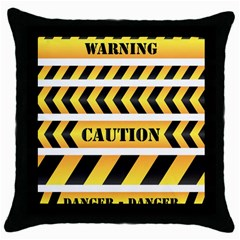 Caution Road Sign Warning Cross Danger Yellow Chevron Line Black Throw Pillow Case (black)