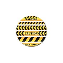 Caution Road Sign Warning Cross Danger Yellow Chevron Line Black Golf Ball Marker (4 Pack) by Alisyart