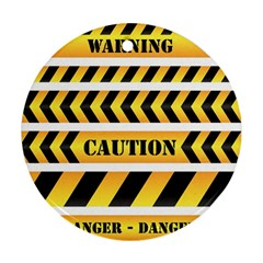 Caution Road Sign Warning Cross Danger Yellow Chevron Line Black Round Ornament (two Sides) by Alisyart