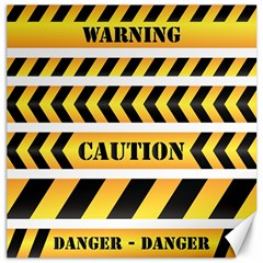 Caution Road Sign Warning Cross Danger Yellow Chevron Line Black Canvas 20  X 20   by Alisyart