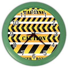 Caution Road Sign Warning Cross Danger Yellow Chevron Line Black Color Wall Clocks by Alisyart