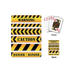 Caution Road Sign Warning Cross Danger Yellow Chevron Line Black Playing Cards (mini)  by Alisyart