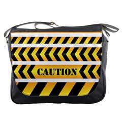 Caution Road Sign Warning Cross Danger Yellow Chevron Line Black Messenger Bags by Alisyart