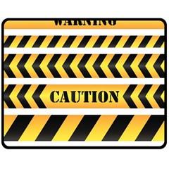 Caution Road Sign Warning Cross Danger Yellow Chevron Line Black Double Sided Fleece Blanket (medium)  by Alisyart