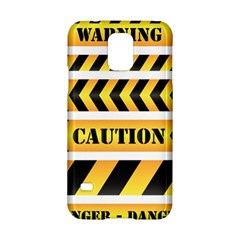 Caution Road Sign Warning Cross Danger Yellow Chevron Line Black Samsung Galaxy S5 Hardshell Case  by Alisyart