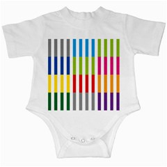 Color Bars Rainbow Green Blue Grey Red Pink Orange Yellow White Line Vertical Infant Creepers by Alisyart