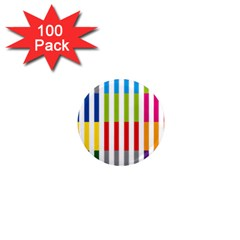 Color Bars Rainbow Green Blue Grey Red Pink Orange Yellow White Line Vertical 1  Mini Magnets (100 Pack)  by Alisyart