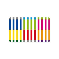 Color Bars Rainbow Green Blue Grey Red Pink Orange Yellow White Line Vertical Magnet (name Card) by Alisyart