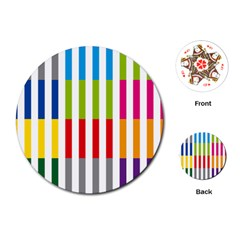 Color Bars Rainbow Green Blue Grey Red Pink Orange Yellow White Line Vertical Playing Cards (round)  by Alisyart