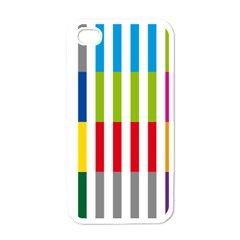 Color Bars Rainbow Green Blue Grey Red Pink Orange Yellow White Line Vertical Apple Iphone 4 Case (white) by Alisyart