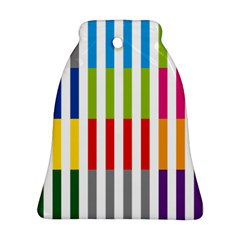 Color Bars Rainbow Green Blue Grey Red Pink Orange Yellow White Line Vertical Bell Ornament (two Sides) by Alisyart