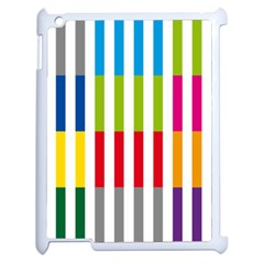 Color Bars Rainbow Green Blue Grey Red Pink Orange Yellow White Line Vertical Apple Ipad 2 Case (white) by Alisyart