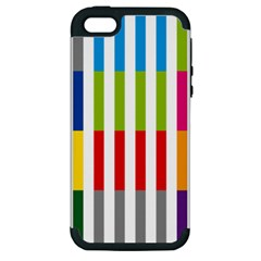 Color Bars Rainbow Green Blue Grey Red Pink Orange Yellow White Line Vertical Apple Iphone 5 Hardshell Case (pc+silicone) by Alisyart