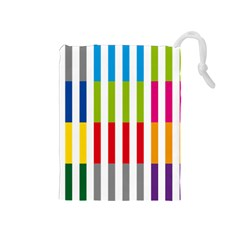Color Bars Rainbow Green Blue Grey Red Pink Orange Yellow White Line Vertical Drawstring Pouches (medium)  by Alisyart