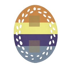 Color Therey Orange Yellow Purple Blue Oval Filigree Ornament (two Sides) by Alisyart