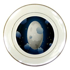 Cloud Moon Star Blue Sky Night Light Porcelain Plates by Alisyart
