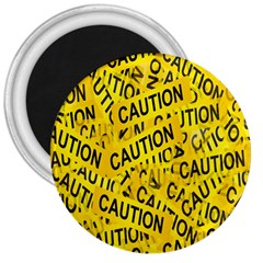 Caution Road Sign Cross Yellow 3  Magnets by Alisyart