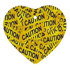 Caution Road Sign Cross Yellow Ornament (heart) by Alisyart