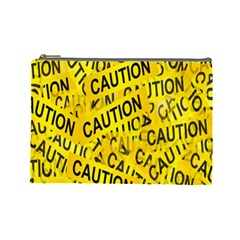 Caution Road Sign Cross Yellow Cosmetic Bag (large)  by Alisyart