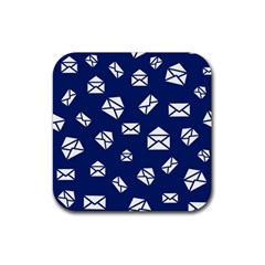 Envelope Letter Sand Blue White Masage Rubber Square Coaster (4 Pack)  by Alisyart