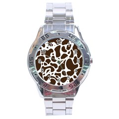 Dalmantion Skin Cow Brown White Stainless Steel Analogue Watch by Alisyart