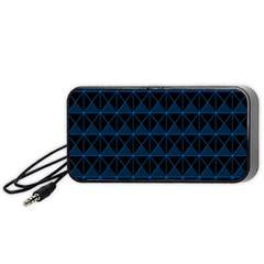 Colored Line Light Triangle Plaid Blue Black Portable Speaker (black) by Alisyart