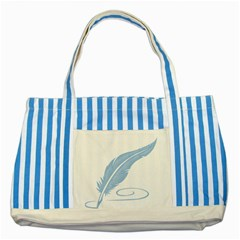 Feather Pen Blue Light Striped Blue Tote Bag by Alisyart