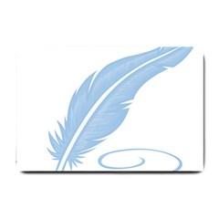 Feather Pen Blue Light Small Doormat  by Alisyart