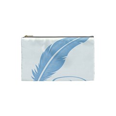 Feather Pen Blue Light Cosmetic Bag (small)  by Alisyart
