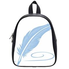 Feather Pen Blue Light School Bags (small)  by Alisyart